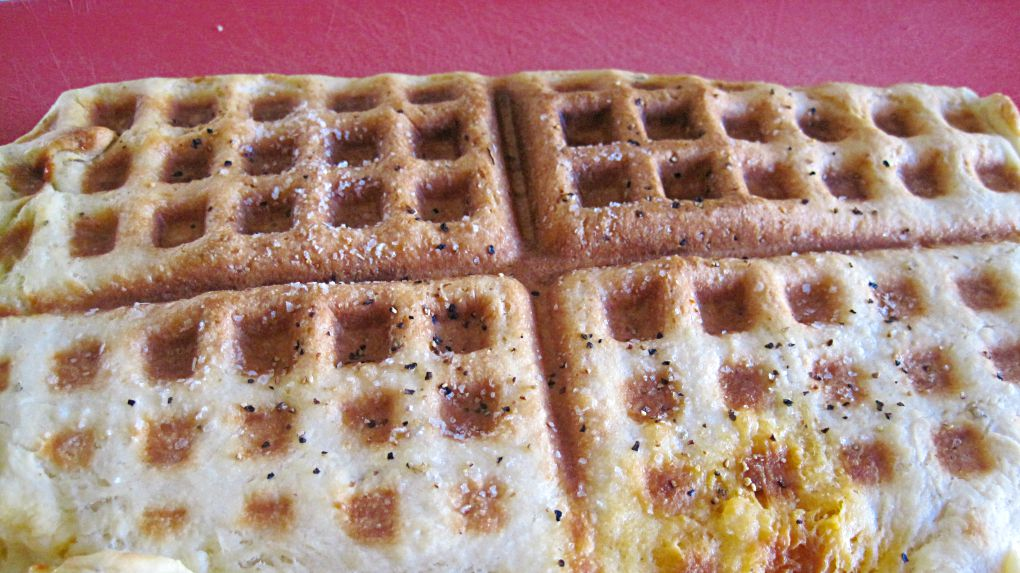 Waffle Maker Pizza!  It might sound weird but it's actually really good.  Crispy on the outside and soft on the inside.