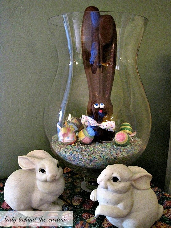 Last Minute Easter Chocolate Bunny Centerpiece