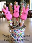 Peeps and Chocolate Covered Pretzels