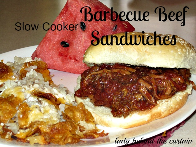 Slow Cooker - Barbecue Beef Sandwich - Lady Behind the Curtain