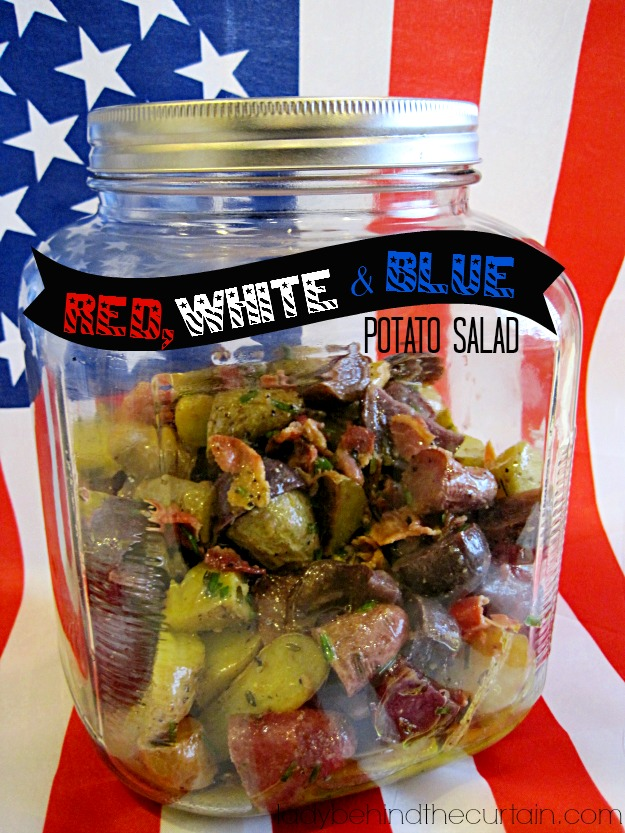 Red, White and Blue Potato Salad - Lady Behind The Curtain