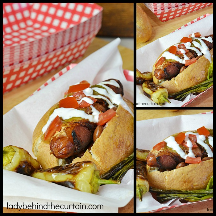 Sonoran Hot Dog | A beef hot dog wrapped in bacon, grilled with an assortment of toppings. The BEST hot dog I've EVER had!