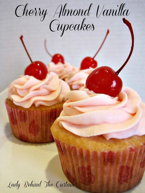 Lady Behind The Curtain - Cherry Almond Vanilla Cupcakes