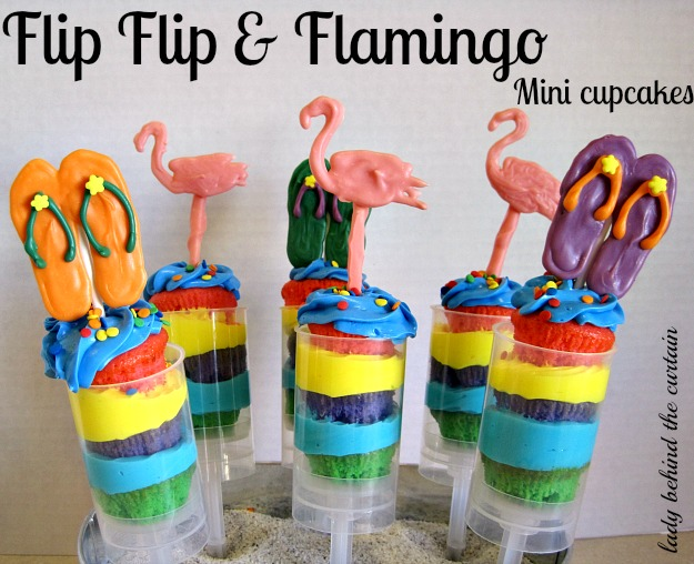 Lady Behind The Curtain - Flip Flop & Flamingo Mini Cupcakes