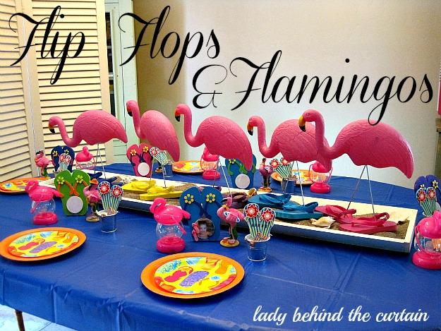 Lady Behind The Curtain - Flip Flops & Flamingos
