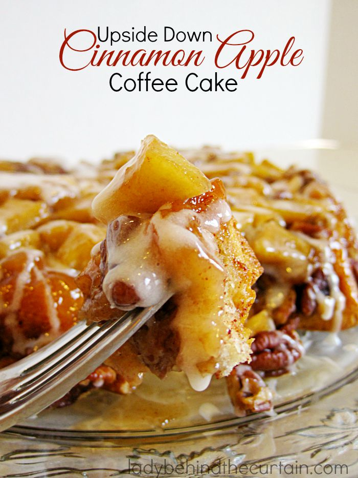 Upside Down Cinnamon Apple Coffee Cake | Nice and gooey with plenty of pecans and apples.