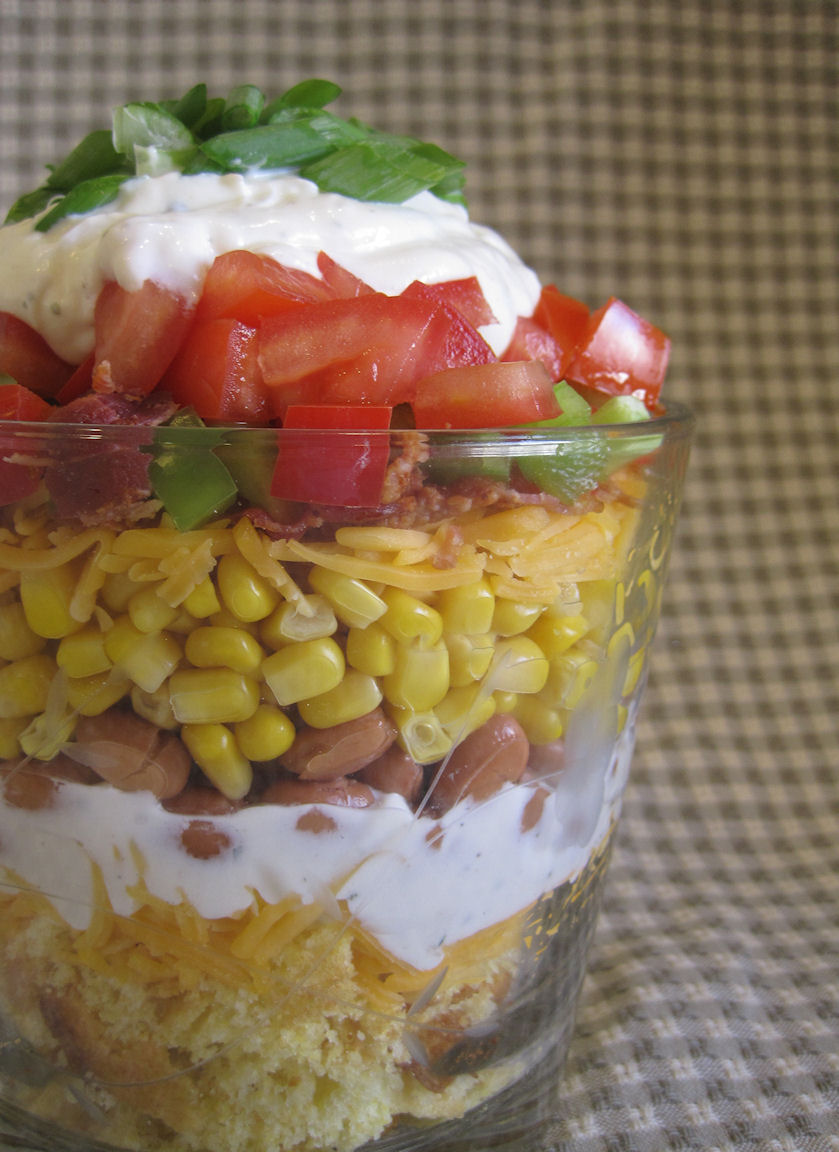 Layered Corn Bread Salad - Lady Behind the Curtain