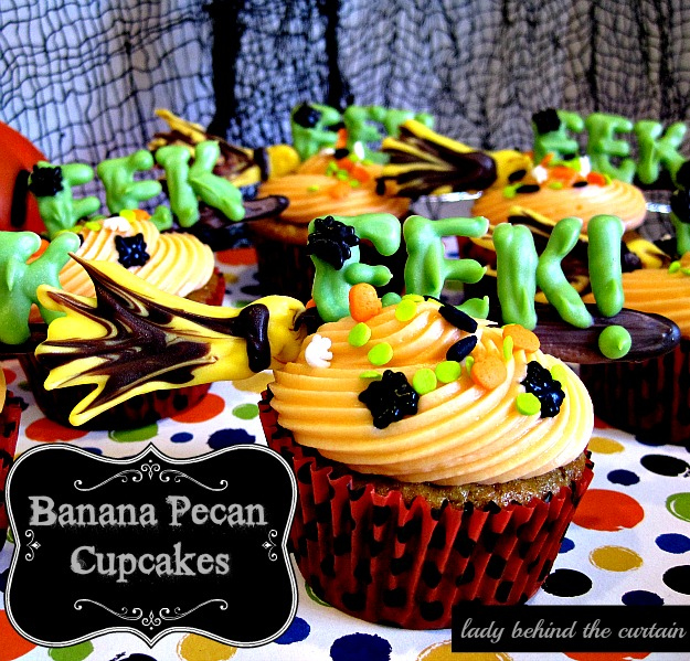 Lady Behind The Curtain - Banana Pecan Cupcakes