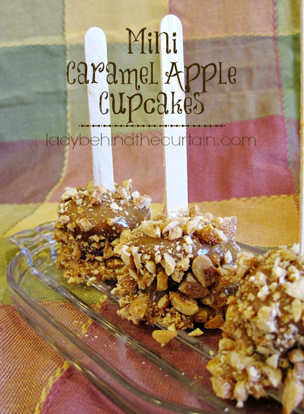 Mini Caramel Apple Cupcakes - Lady Behind The Curtain