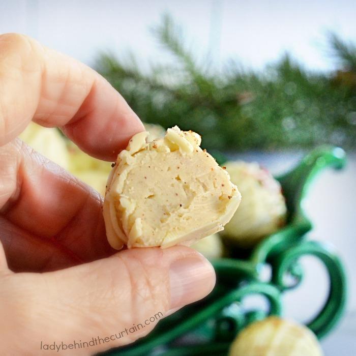 White Chocolate Christmas Eggnog Truffles