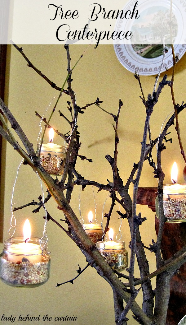 Lady Behind The Curtain - Tree Branch Centerpiece