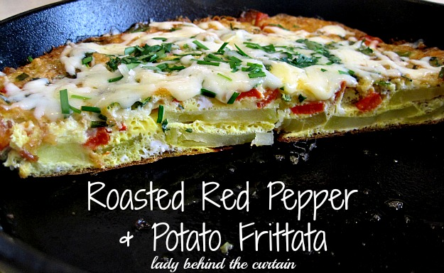 Roasted Red Pepper and Potato Frittata - Lady Behind the Curtain