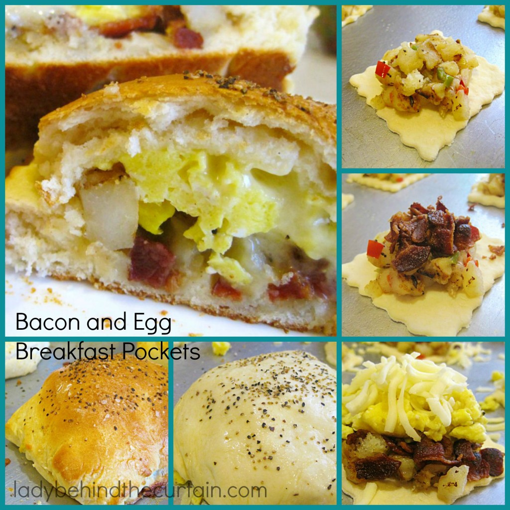 Bacon and Egg Breakfast Pockets:  These pockets also have mounds of hash browns and cheese!