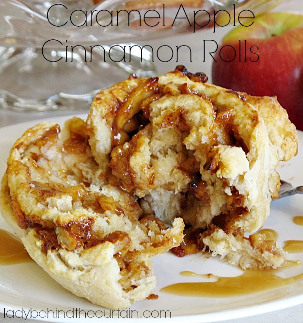 Caramel Apple Cinnamon Rolls - Lady Behind The Curtain