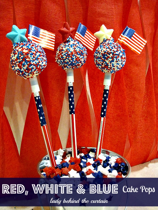Lady Behind The Curtain Red, White and Blue Cake Pops