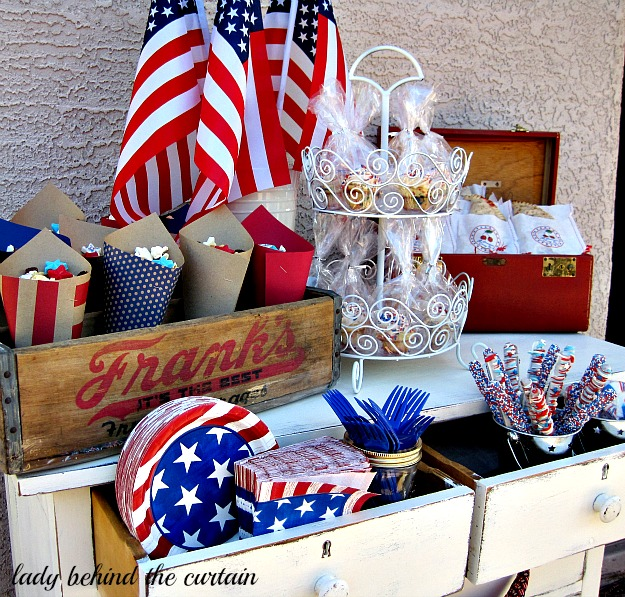 Lady Behind The Curtain - Red, White and Blue Celebration Tables