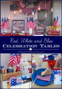 These Red, White and Blue Celebration Tables are perfect for getting together and CELEBRATING our GREAT NATION and the FREEDOM we have!!!