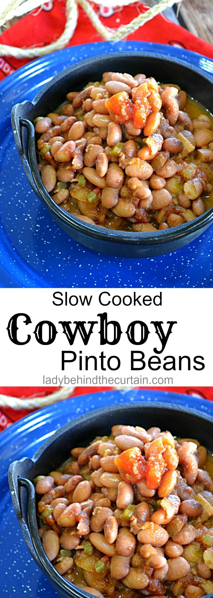 Slow Cooked Cowboy Pinto Beans| backyard barbecue recipe, easy recipe summer bean recipe, potluck recipe, cowboy recipe