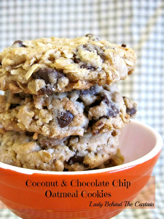 Lady Behind The Curtain - Coconut & Chocolate Chip Oatmeal Cookies