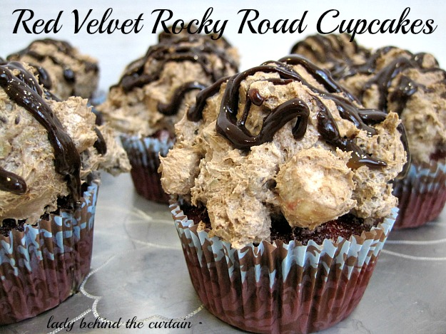 Lady Behind The Curtain - Red Velvet Rocky Road Cupcakes