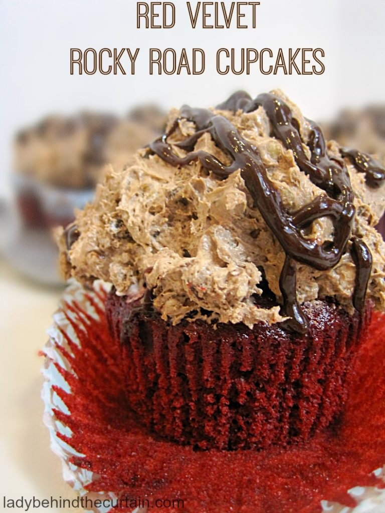 Red Velvet Rocky Road Cupcakes   rocky road recipe, rocky road ice cream, semi homemade cupcakes, cake mix cupcakes