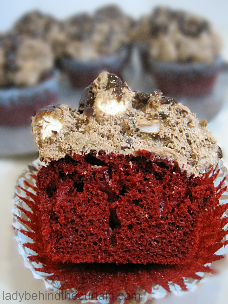 Red Velvet Rocky Road Cupcakes | rocky road recipe, rocky road ice cream, semi homemade cupcakes, cake mix cupcakes