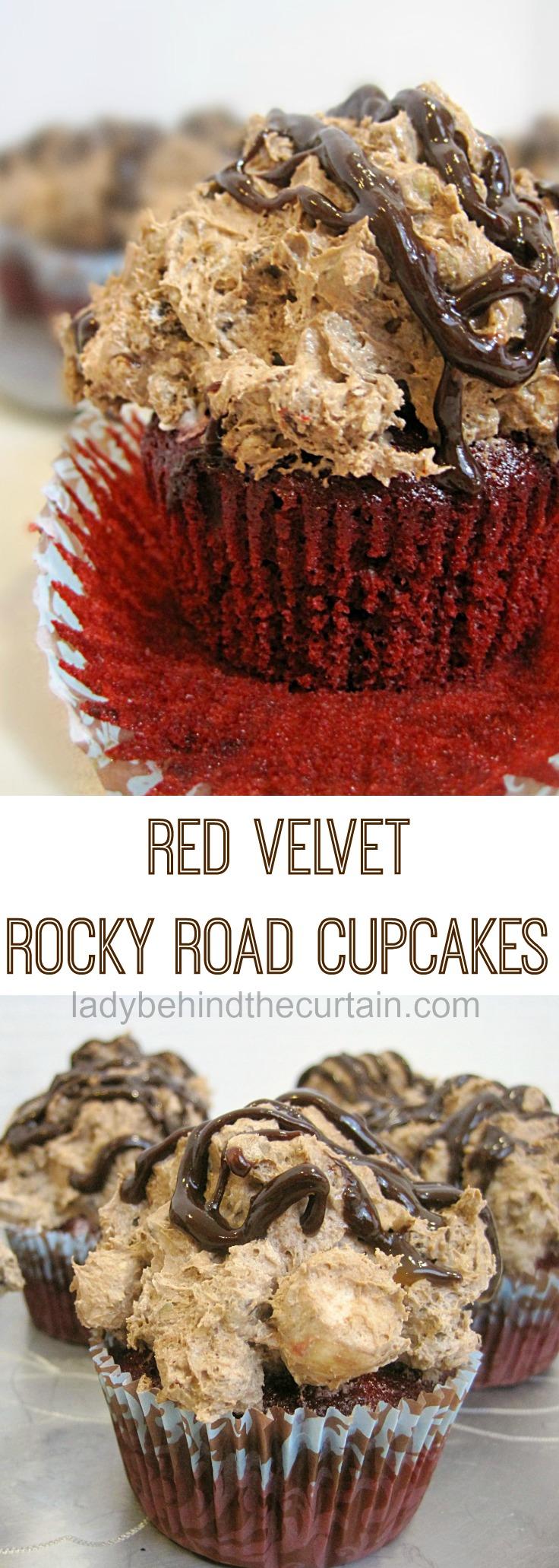 Red Velvet Rocky Road Cupcakes | rocky road recipe, rocky road ice cream, semi homemade cupcakes, cake mix cupcakes