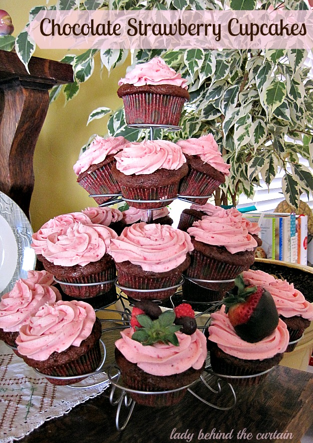 Chocolate Strawberry Cupcakes - Lady Behind The Curtain