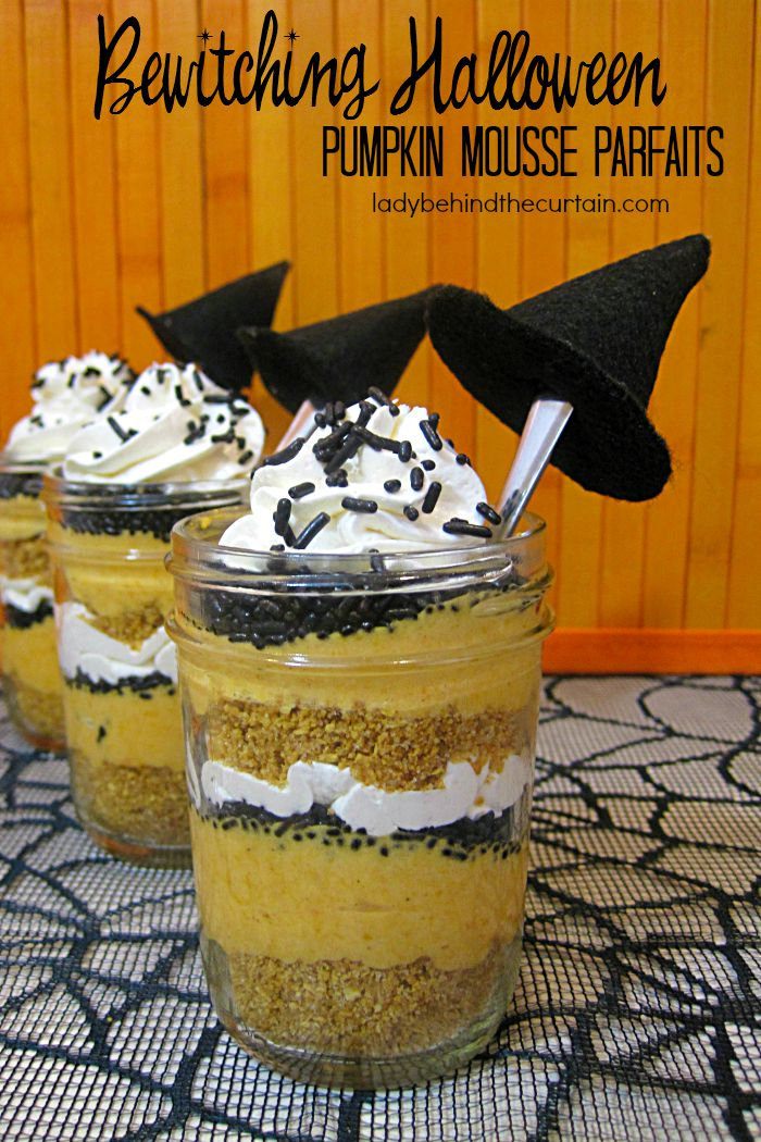 Then layers of  pumpkin mousse, black sprinkles,  and vanilla cheesecake mousse.