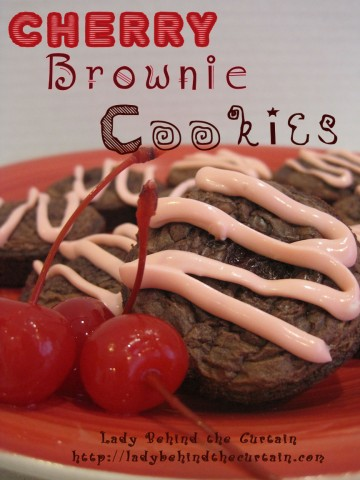 Lady Behind The Curtain - Cherry Brownies Cookies with Cherry Cream Cheese Drizzle