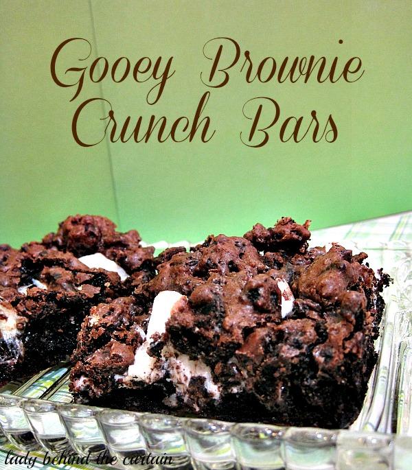 Lady Behind The Curtain - Gooey Brownie Crunch Bars