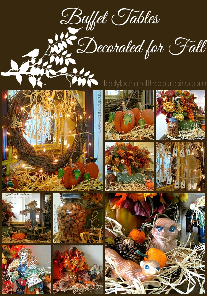 Buffet Tables - Decorated for Fall - Lady Behind The Curtain