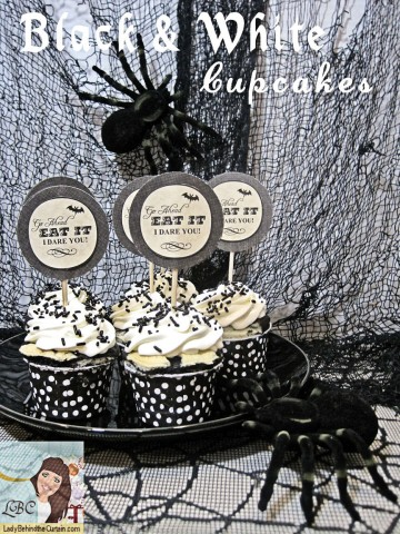 Lady-Behind-The-Curtain-Black-White-Cupcakes