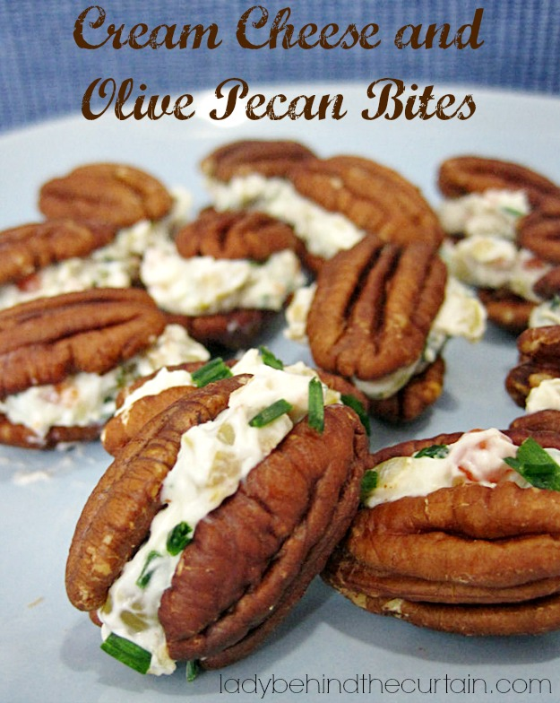 Cream Cheese and Olive Pecan Bites- Lady Behind The Curtain