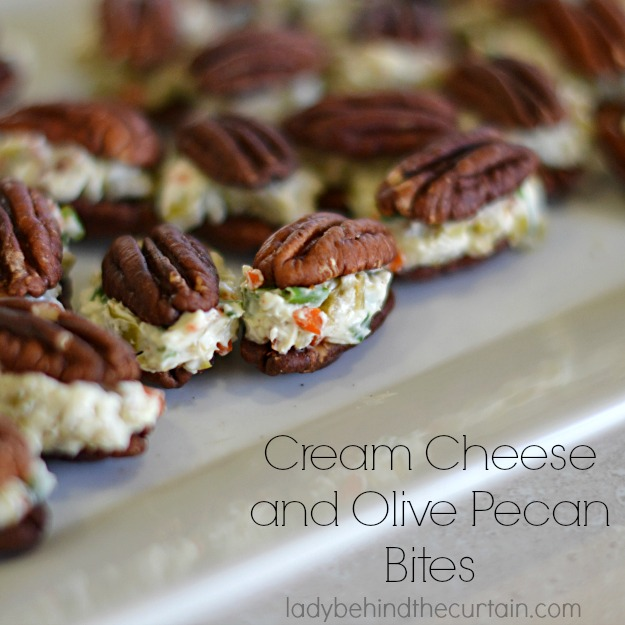 Cream Cheese and Olive Pecan Bites - Lady Behind The Curtain