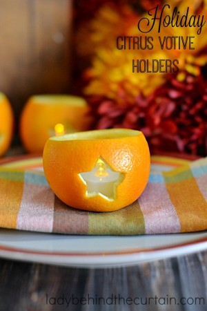 Holiday Citrus Votive Holders | Add the fresh scent of citrus to your holiday table, buffet or bathroom with this inexpensive easy to make votive holders.