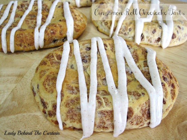 Lady Behind The Curtain - Cinnamon Roll Cheesecake Tarts