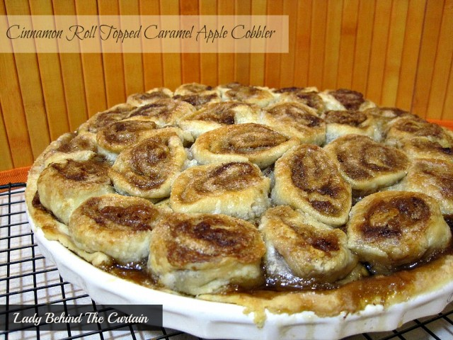 Lady-Behind-The-Curtain-Cinnamon-Roll-Topped-Caramel-Apple-Cobbler