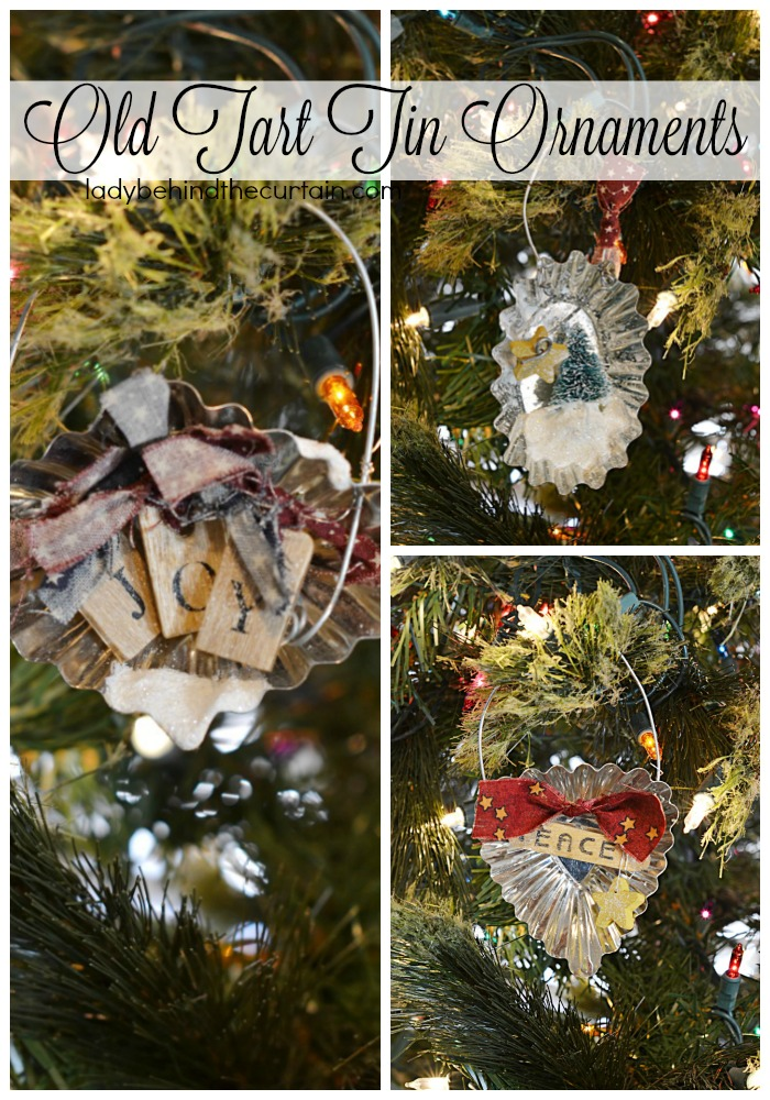 Country Christmas Ornaments.Old Tart Tin Ornaments