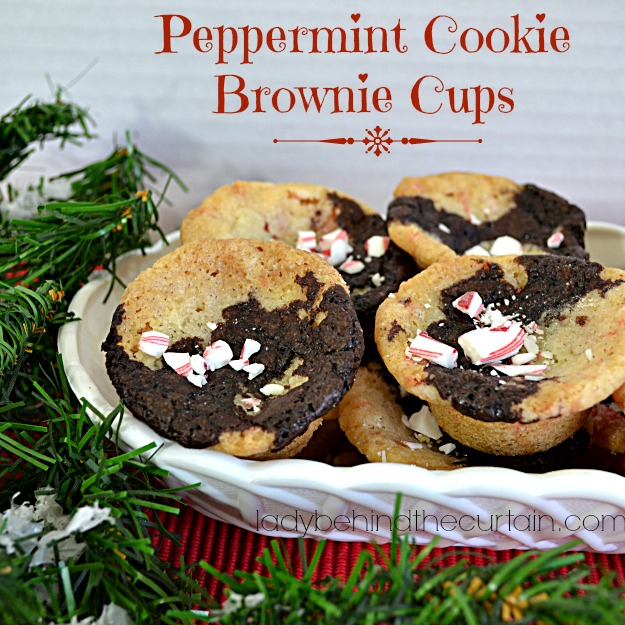 Peppermint Cookie Brownie Cups - Lady Behind The Curtain