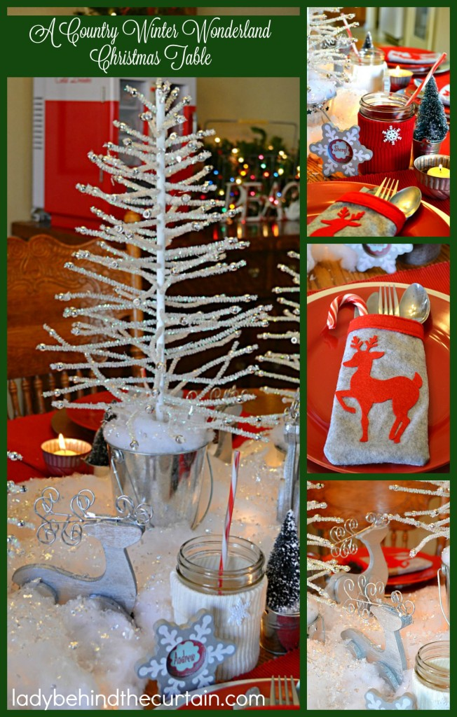 A Country Winter Wonderland Christmas Table | I like casual entertaining. Nothing fancy on the table. Things I find around the house and homemade decor.
