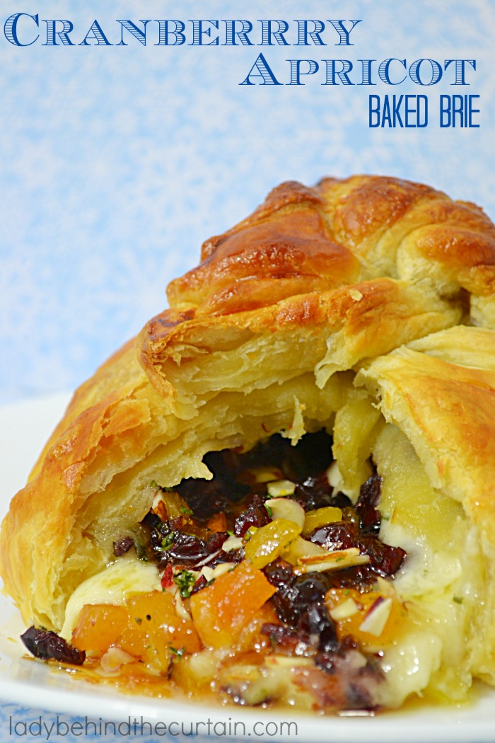 Cranberry Apricot Baked Brie   This easy to make elegant appetizer will wow your guests with its presentation and flavor!