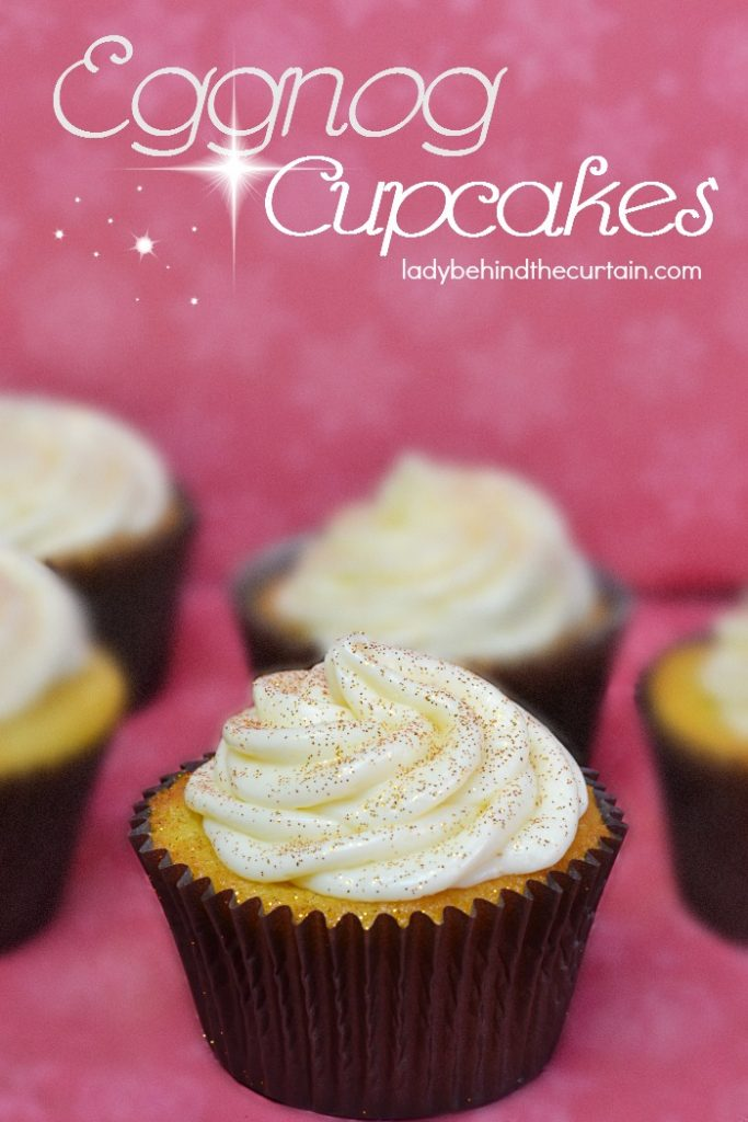 Fluffy Eggnog Cupcakes topped with a rich eggnog cream cheese frosting.