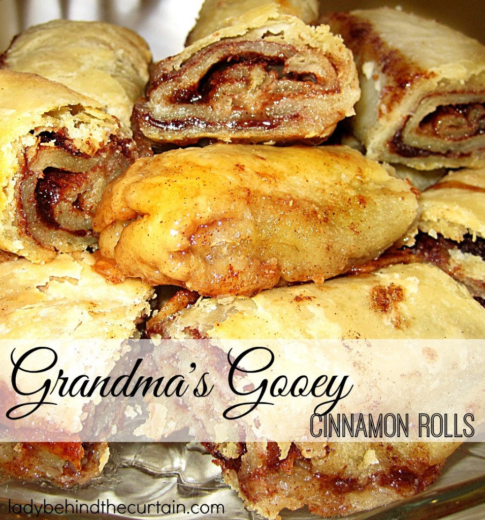 Grandma's Gooey Cinnamon Rolls:   NO rising involved.  YEP, that's right NO YEAST!  Just buttery goodness!