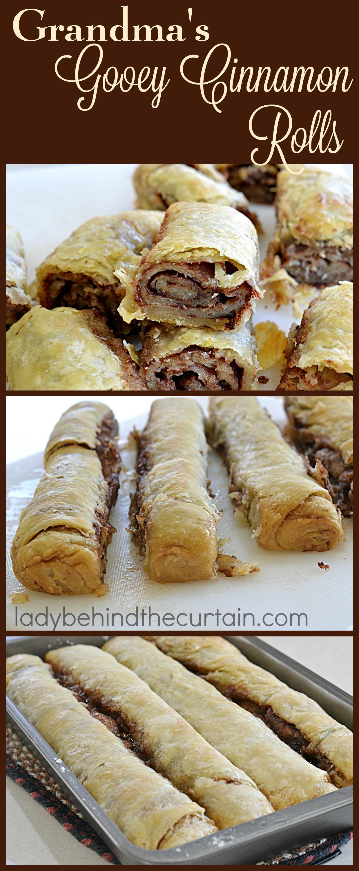 Grandma's Gooey Cinnamon Rolls   These old fashioned cinnamon rolls are more commonly called pie dough cinnamon rolls.