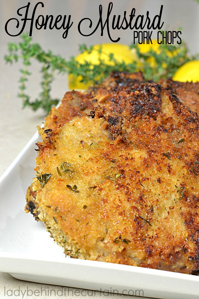 Honey Mustard Pork Chops | Who doesn't love a pork chop that is packed with layers of flavor? I know I do.....that's why this is my all time favorite pork chop recipe. Starting with a honey mustard coating and the perfect crust combination of bread crumbs, thyme and lemon zest. These chops were just as good the next day as the first.