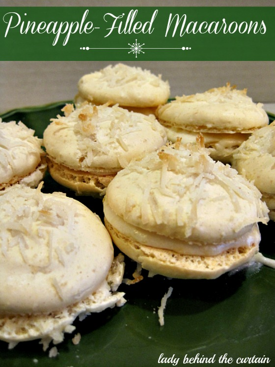 ... macaroons are made with nuts, coconut and with a creamy pineapple