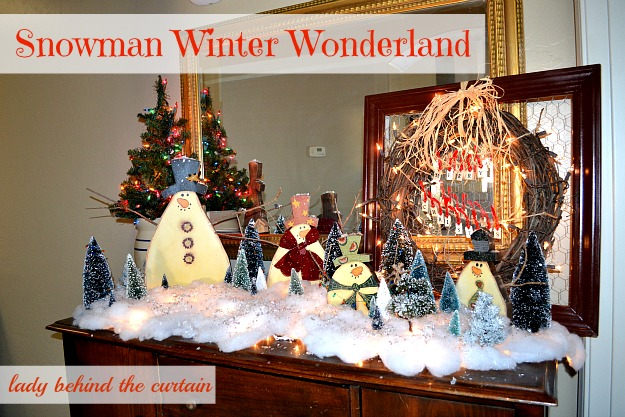 Lady Behind The Curtain - Snowman Winter Wonderland