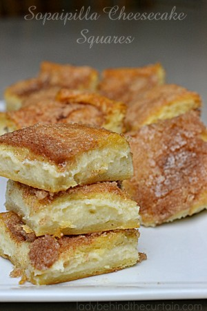 Sopaipilla Cheesecake Squares | With a delicious creamy center and a crunchy cinnamon top.