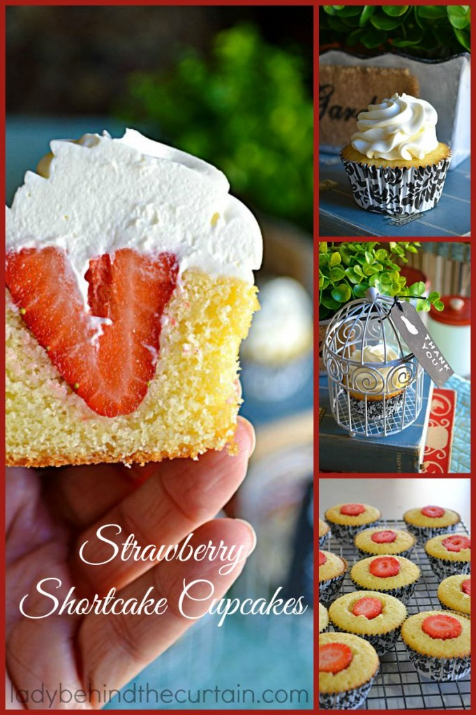 A dense sweet pound cake filled with a whole strawberry and topped with a whip cream frosting. Your own mini strawberry shortcake cupcakes!